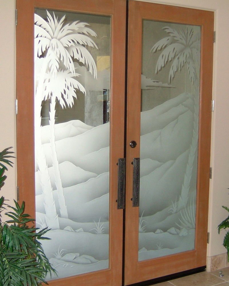 Etched Glass Door Palm Tee Desert Mountains Sell Buy Rent